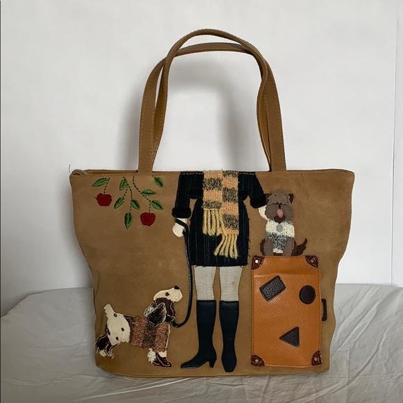 St. John's Bay Handbags - St John's Bay leather dog walker patch embroidered